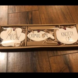 Rae Dunn meow, catmas time knotty cat ornaments